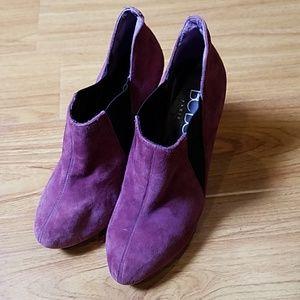 BCBG Dark Red Suede Leather Heel Ankle Booties 8.5